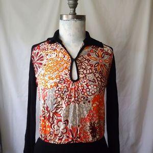 Pucci Silk Front Panel Keyhole Wool Knit Sweater